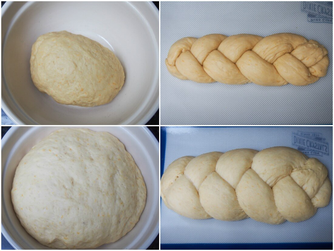 Tsoureki Greek Easter bread 1st and 2nd rises