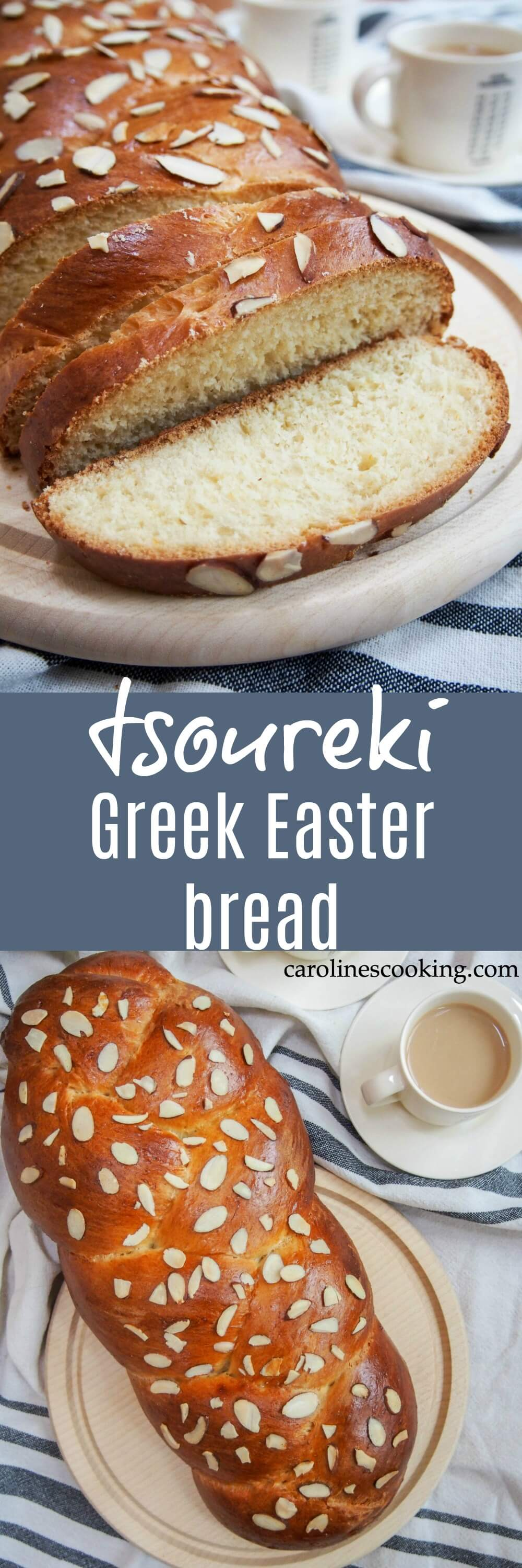 Tsoureki is the traditional Greek Easter bread that's a deliciously soft, gently sweet yeast bread similar to brioche or challah but with it's own distinctive flavor. It's wonderful enjoyed on it's own when fresh and leftovers make fantastic French toast. #bread #Greekfood #Easter
