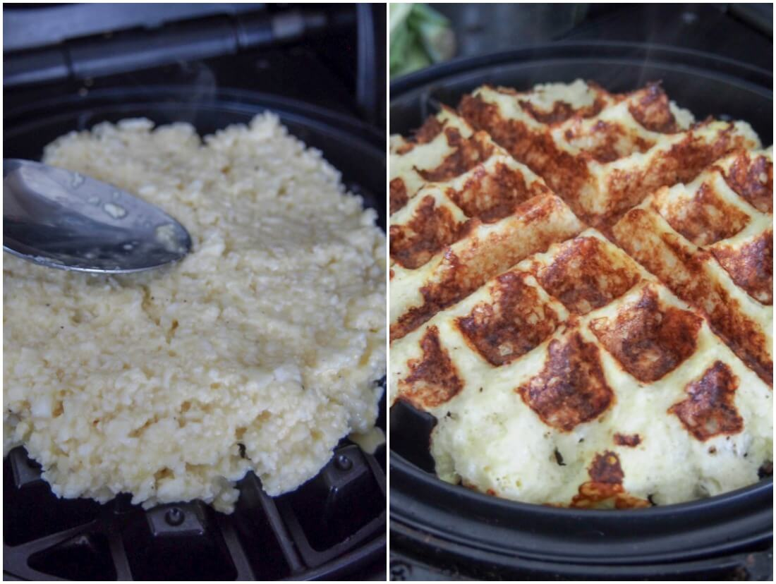 making cauliflower waffles