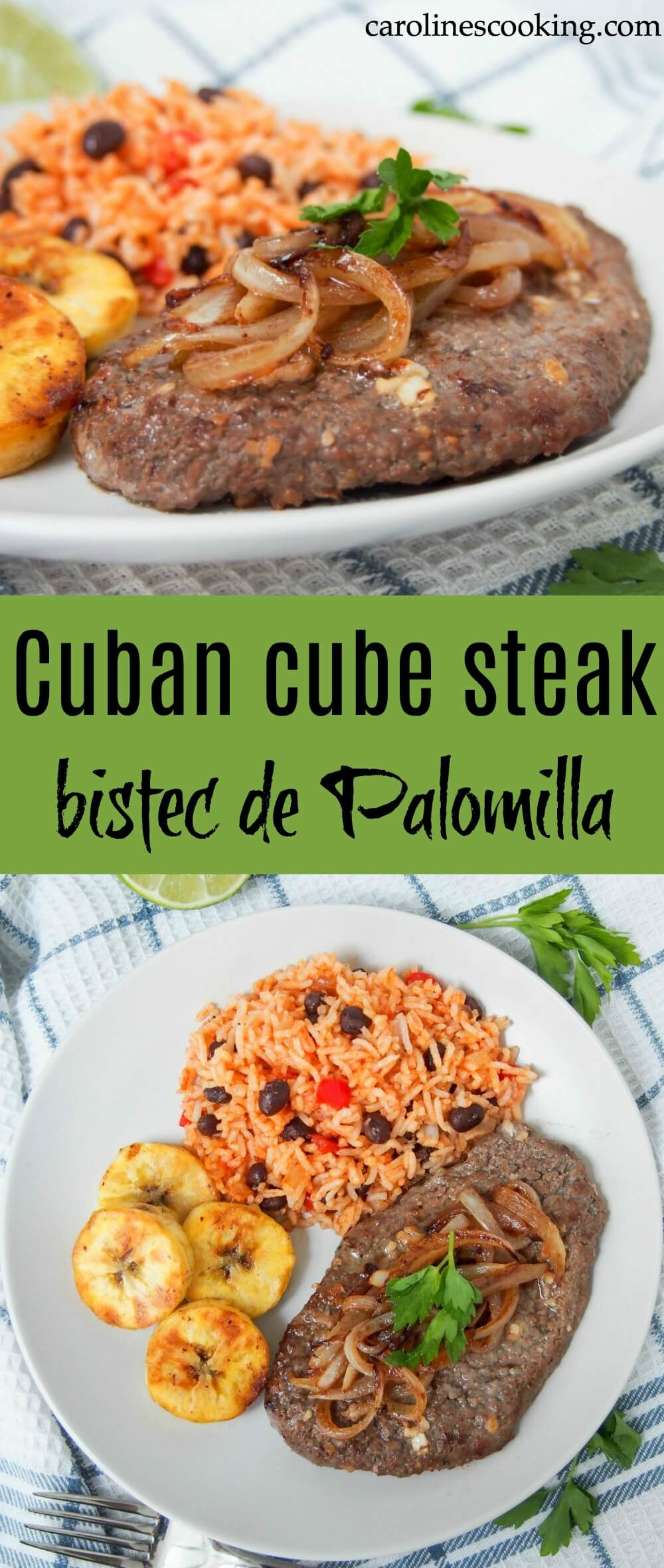 Cuban cube steak - Bistec de Palomilla is such an easy way to prepare cube steak with great results. You'll be amazed at how the simple lime and garlic marinade transforms this into a tender, flavorful main.