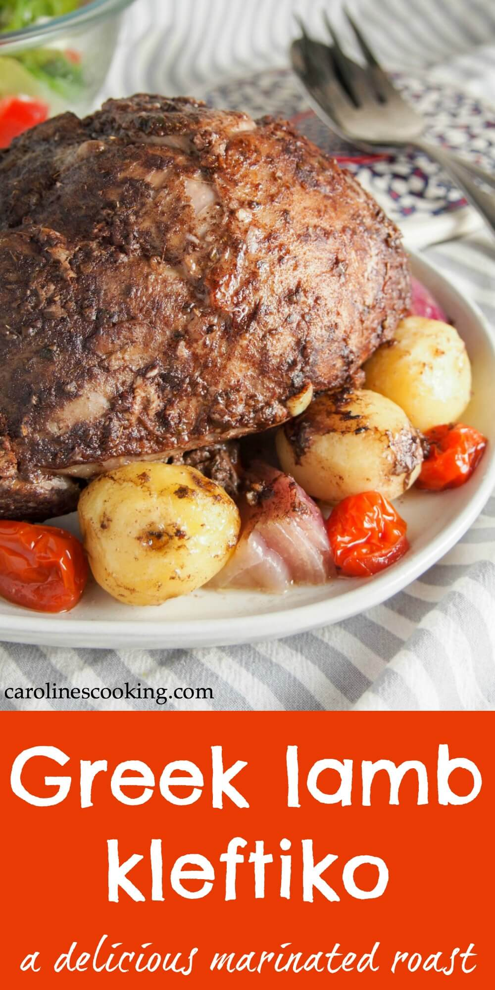 Lamb kleftiko is a classic Greek dish for good reason. It takes a little time, but it's hands off cooking and is easy to make. The marinade adds a lovely layer of flavor to this roast that's great for serving a crowd. A delicious Mediterranean meal. #lamb #Greekfood