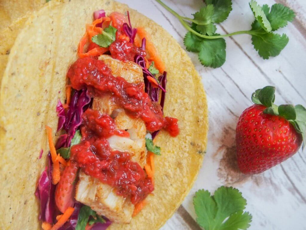 Cod tacos with pickled strawberry slaw #SundaySupper