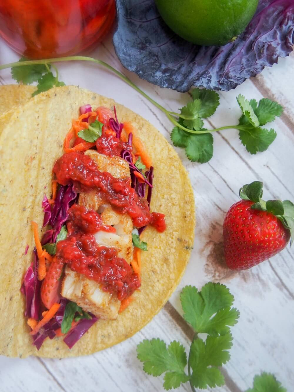 Cod tacos with pickled strawberry slaw