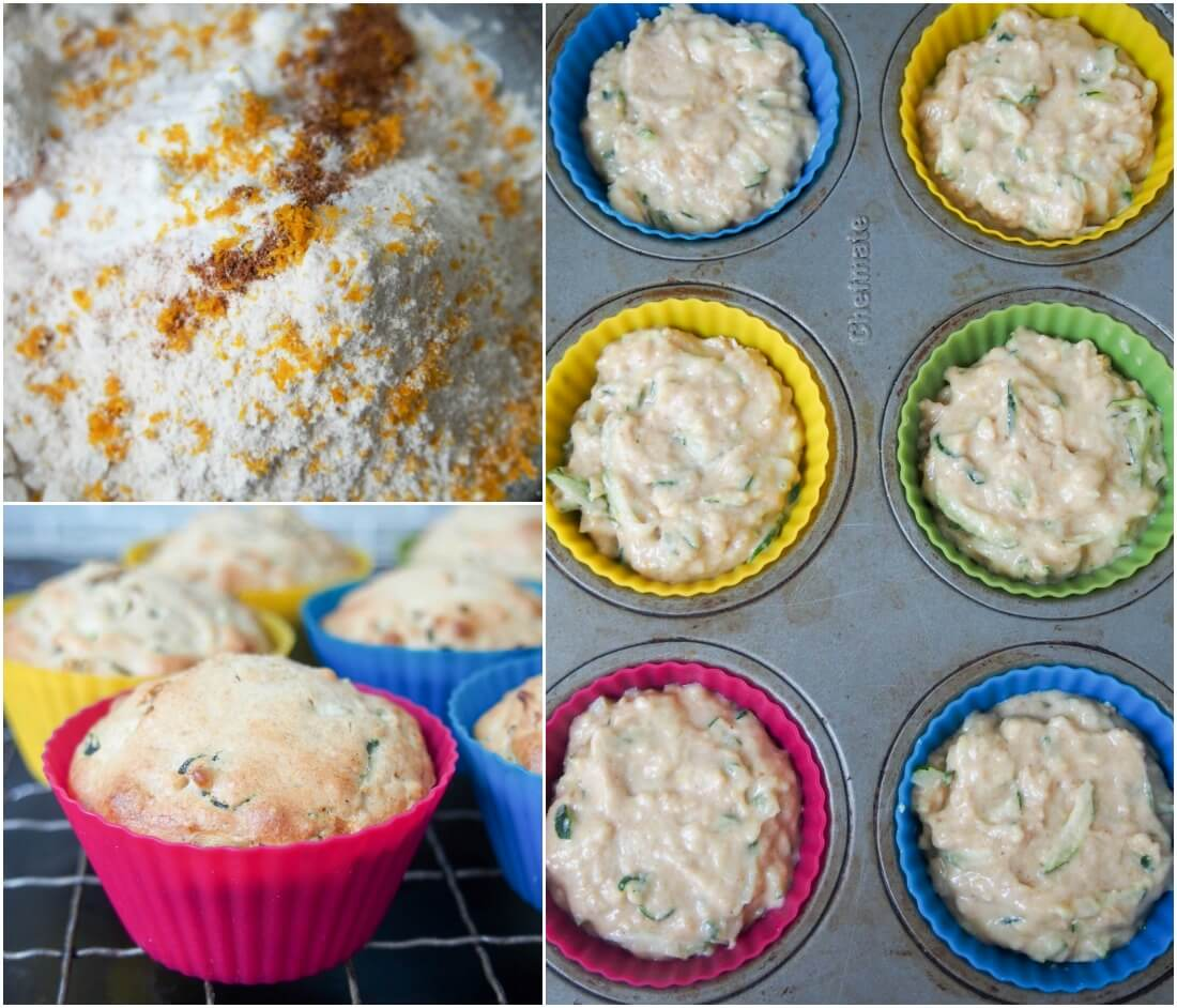 making Meyer lemon zucchini muffins