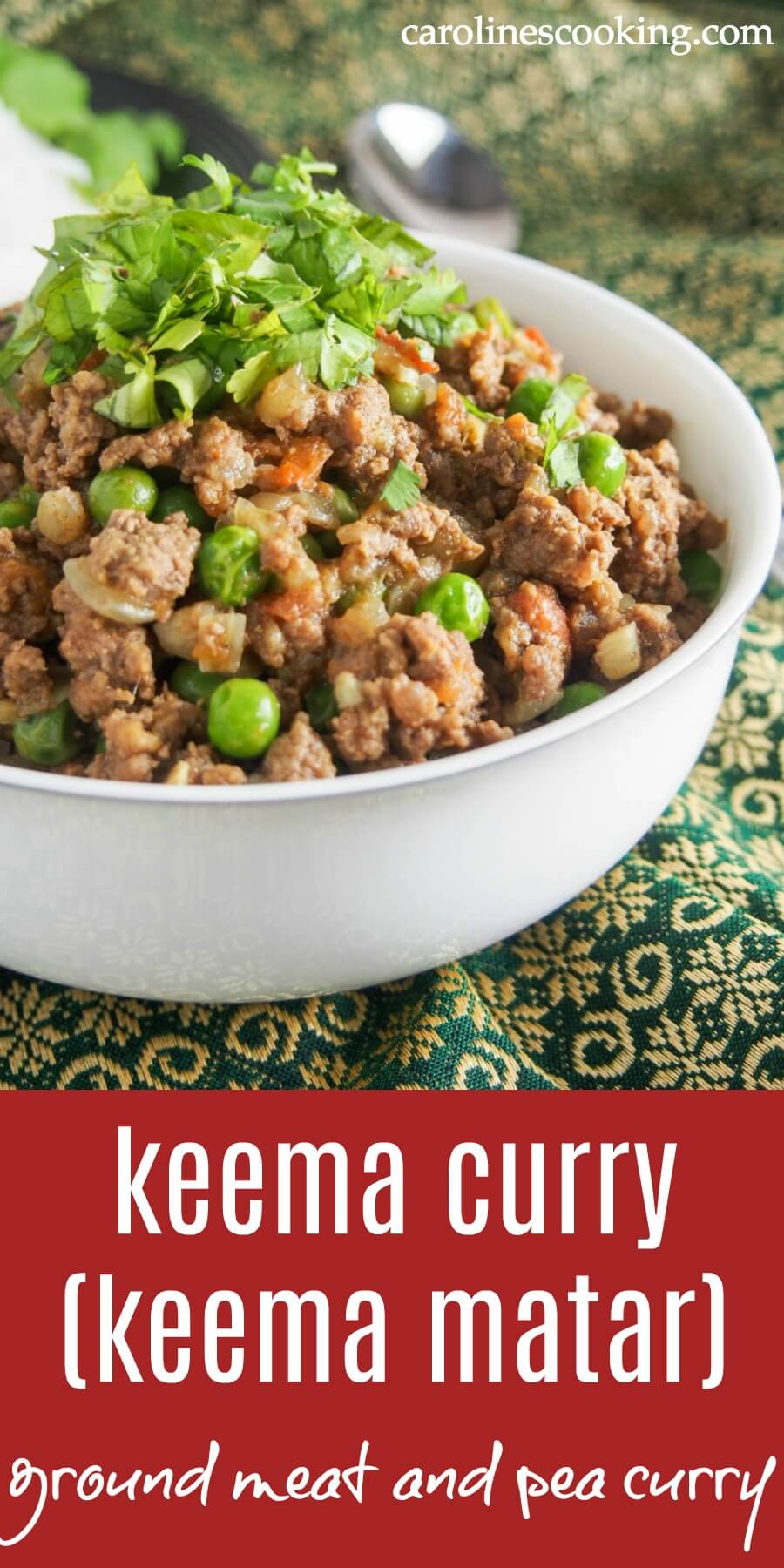 Keema curry (keema matar) is a delicious Indian/Pakistani ground meat and pea curry. Easy to make, and with plenty of flavor, it's a great meal for any night of the week. It's also perfect for meal prep. #groundbeefrecipe #indianfood #indiancurry #30minutemeal