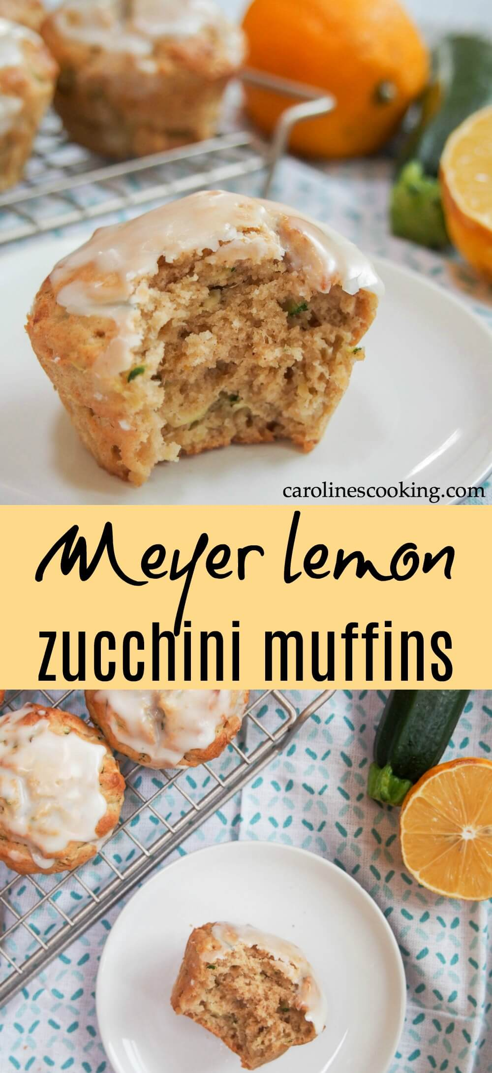These Meyer lemon zucchini muffins are a bright citrusy taste of spring. Easy to make, relatively healthy and addictively good. You can also make them with lemon - either way enjoy the tender muffin and don't skip the citrus glaze! #meyerlemon #muffin #zucchini #springbaking #baking #healthybaking