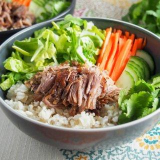 Vietnamese banh mi pork served as rice bowl