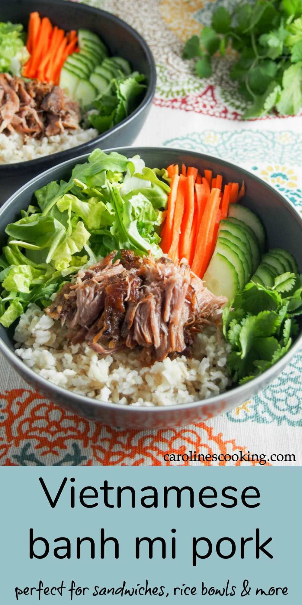 This slow cooked Vietnamese banh mi pork is the perfect base for the traditional sandwiches, rice bowls and more. Just a couple minutes of prep, then the slow cooker does all the work for tender, fall apart pork. It's ideal for meal prep as well with lots of uses. #Vietnamese #pork #slowcooker #mealprep