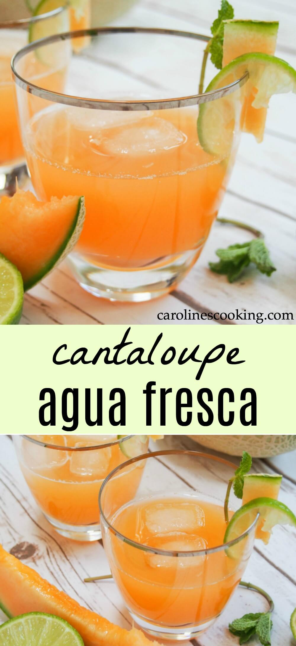 Cantaloupe agua fresca is easy to make and incredibly refreshing. Light and gently fruity, it's a family-friendly drink perfect for a warm day. All you need is cantaloupe, water and lime. It'll quench your thirst on a warm day and is a great, light option alongside a meal.