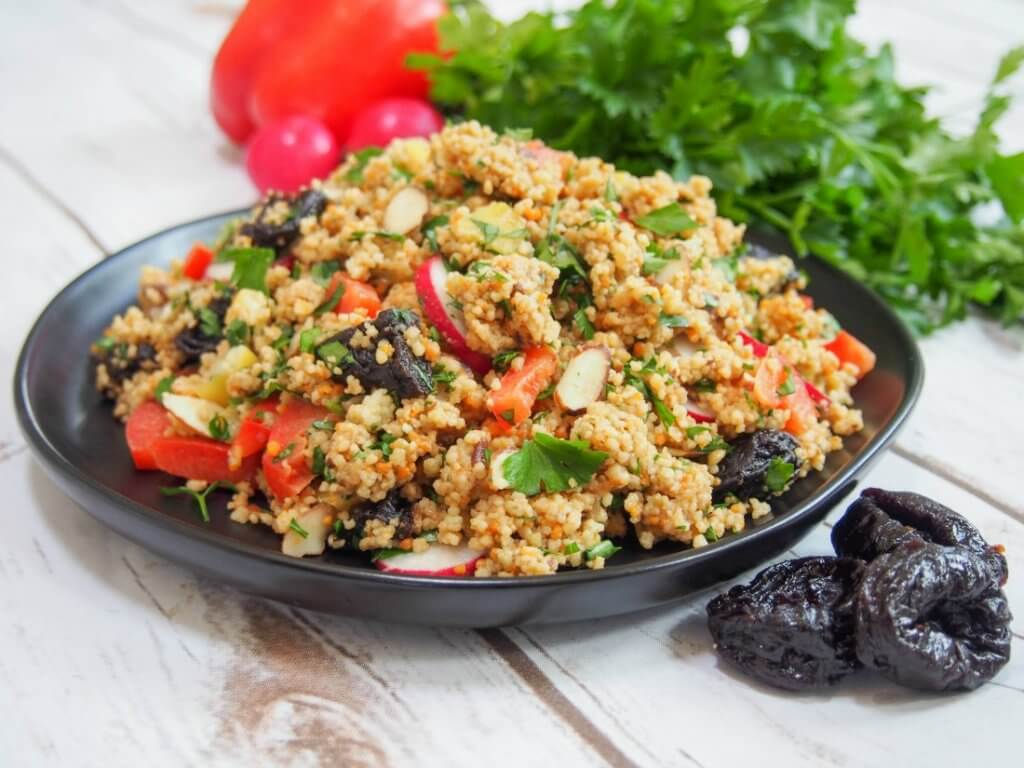 Couscous salad with California prune vinaigrette