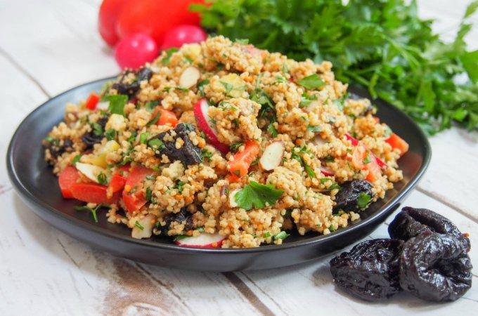 couscous salad with prune vinaigrette