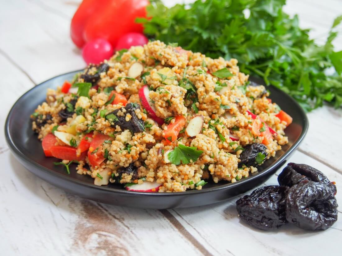couscous salad with prune vinaigrette