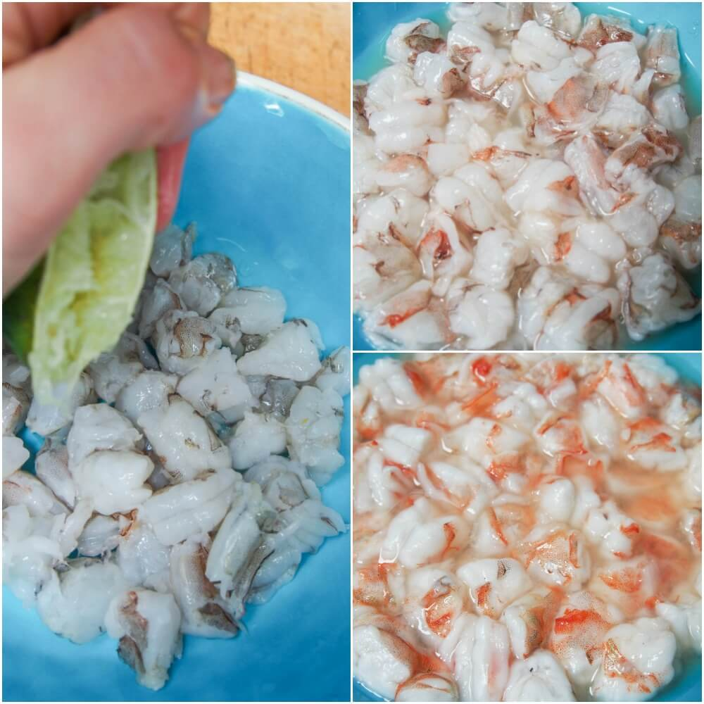 making shrimp ceviche tostadas - adding lime to the shrimp to 'cook'