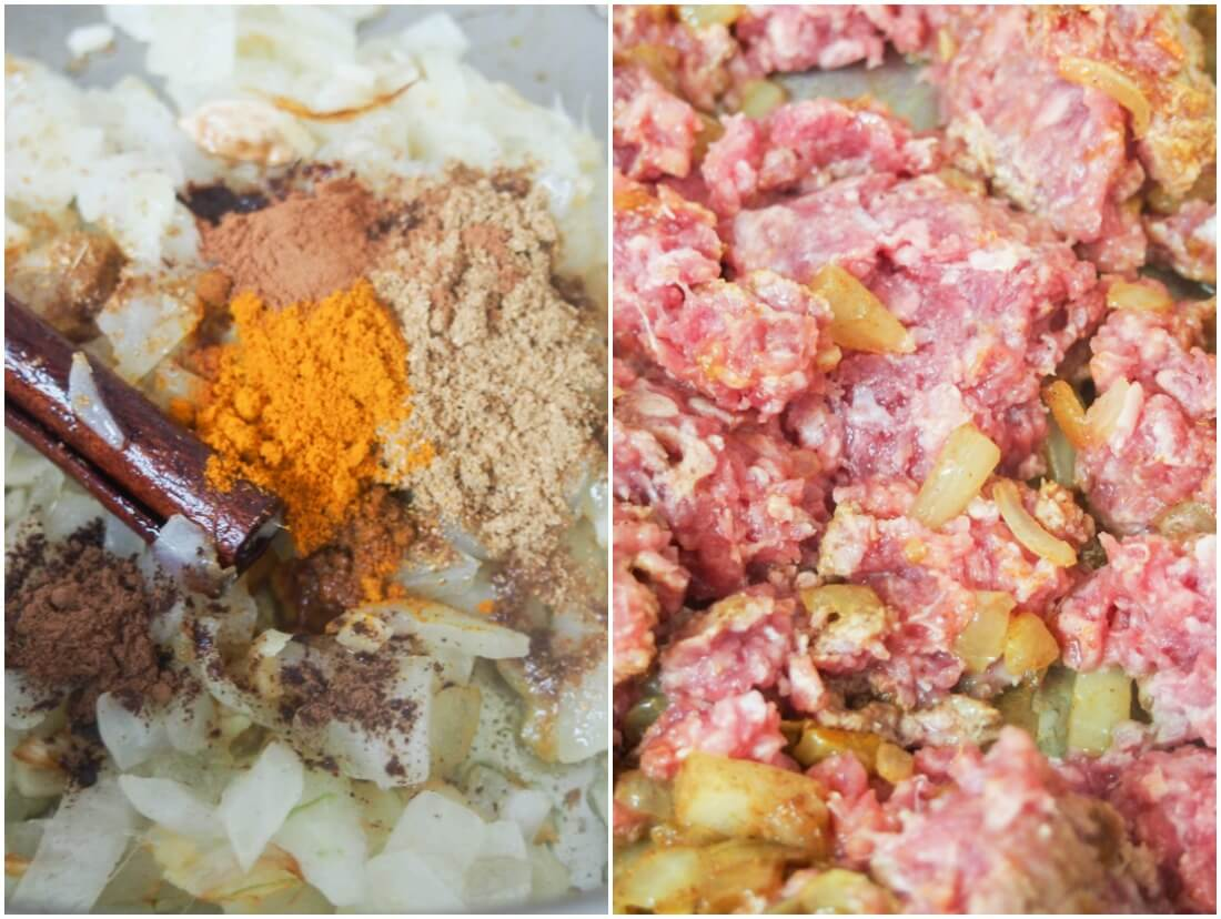 adding spices to onions and then ground meat to keema curry keema matar