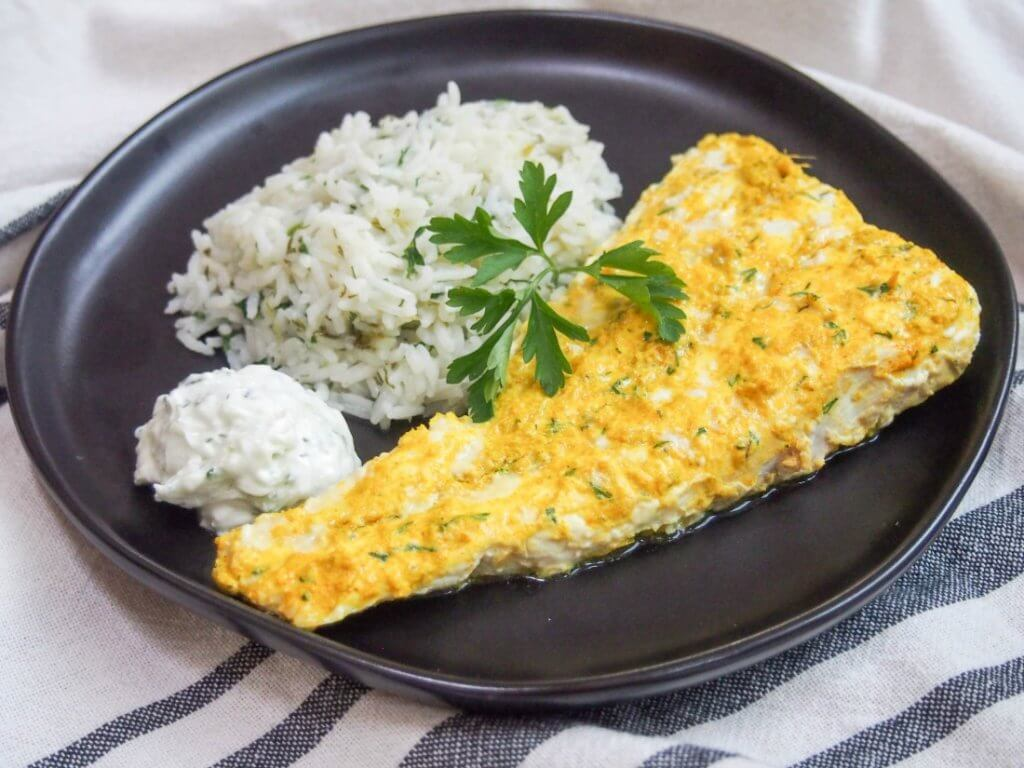 Persian style marinated fish with cacik and herb rice