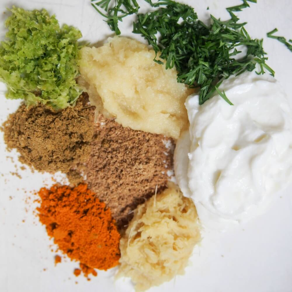 marinade ingredients for Persian style marinated fish with cacik