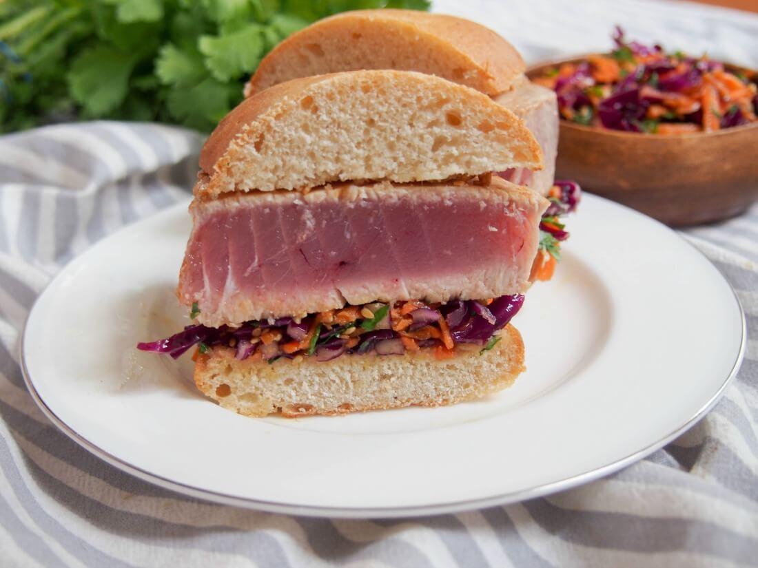 seared tuna sandwich with Asian sesame slaw