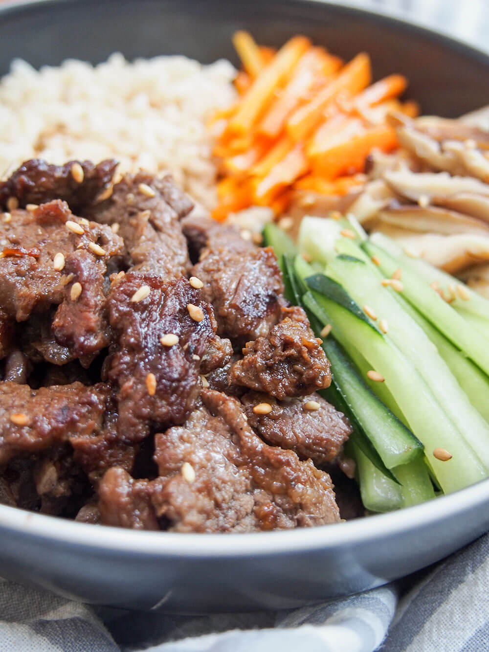 beef bulgogi bowl served with rice and easy Korean-style vegetables