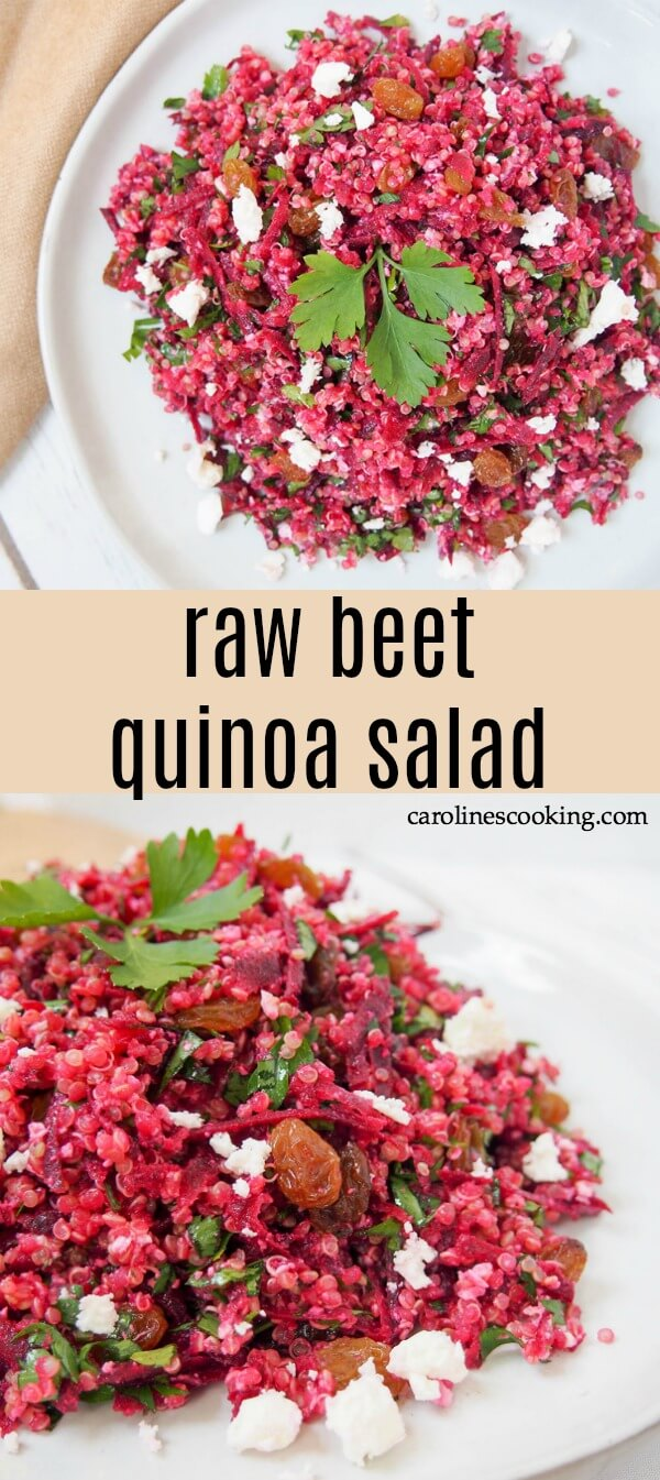 Whether you're looking for a lunch box idea, a potluck dish or a light meal, this raw beet quinoa salad is a great choice. It's bright, light, easy and delicious. Not to mention versatile too. #salad #beet #potlucksalad #lunch #vegetarian #glutenfree