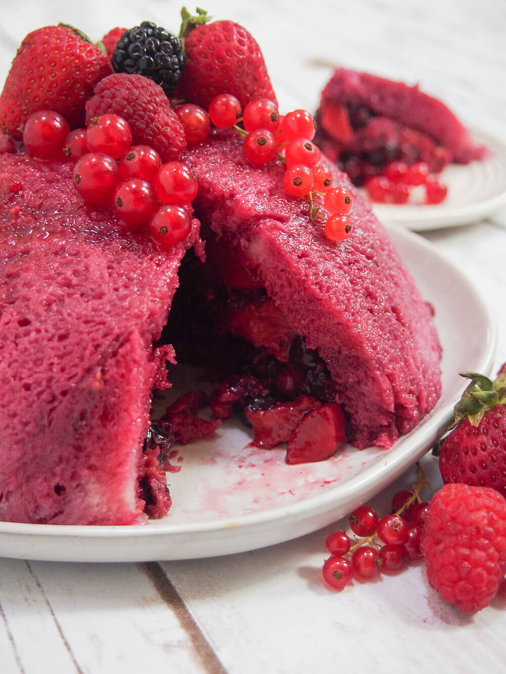 summer pudding on serving plate