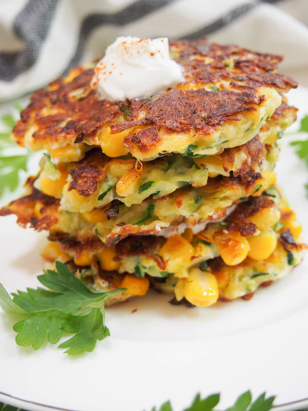 stack of zucchini corn fritters