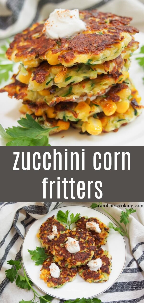 These zucchini corn fritters combine two summer favorites into an easy, delicious appetizer or side. Crisp on the outside, soft inside, they're flavor-packed little bites. Using easy to find ingredients, with lots of tips to help them work out every time, these fritters are also easily adapted to be gluten free. #fritters #corn #zucchini #appetizer #sidedish #vegetarian