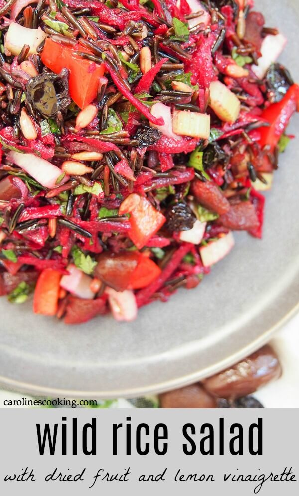 This wild rice salad is a wonderful combination of textures and flavors. A little tart from the vinaigrette, sweet from the dried fruit, with crunchy veg and tender fruit. And a whole lot of wholesome tastiness. It's also a great salad to make ahead and take with you to a picnic, potluck or as a lunch as the ingredients are rebust enough and don't wilt. Easy to make with the only cooking being the rice - so many reasons to try! AD #vegan #glutenfree #salad #wildrice #potlucksalad