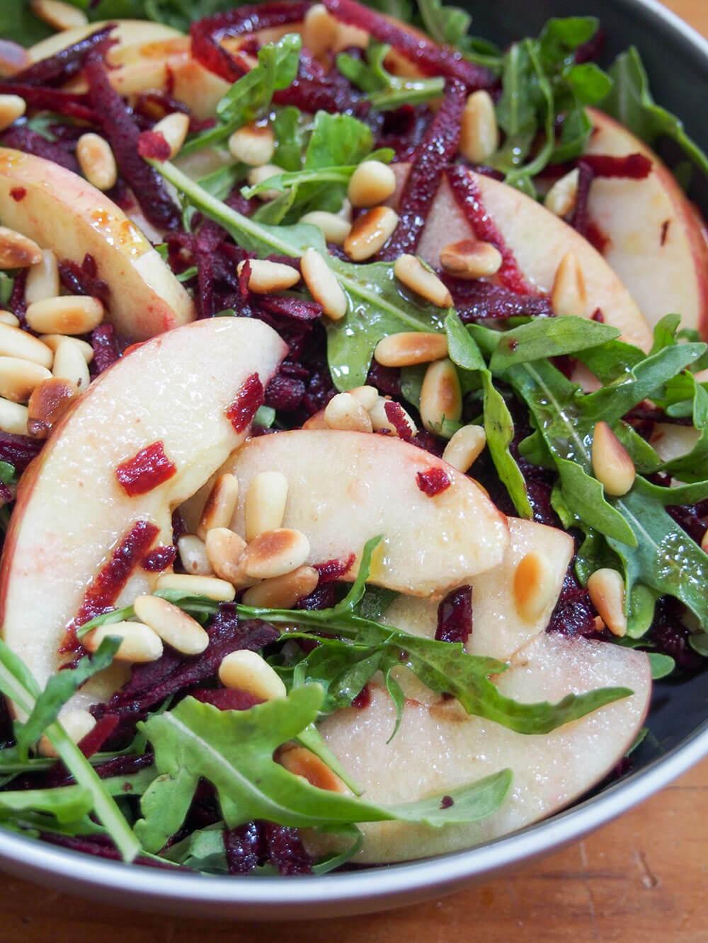 beet apple salad with maple vinaigrette close up