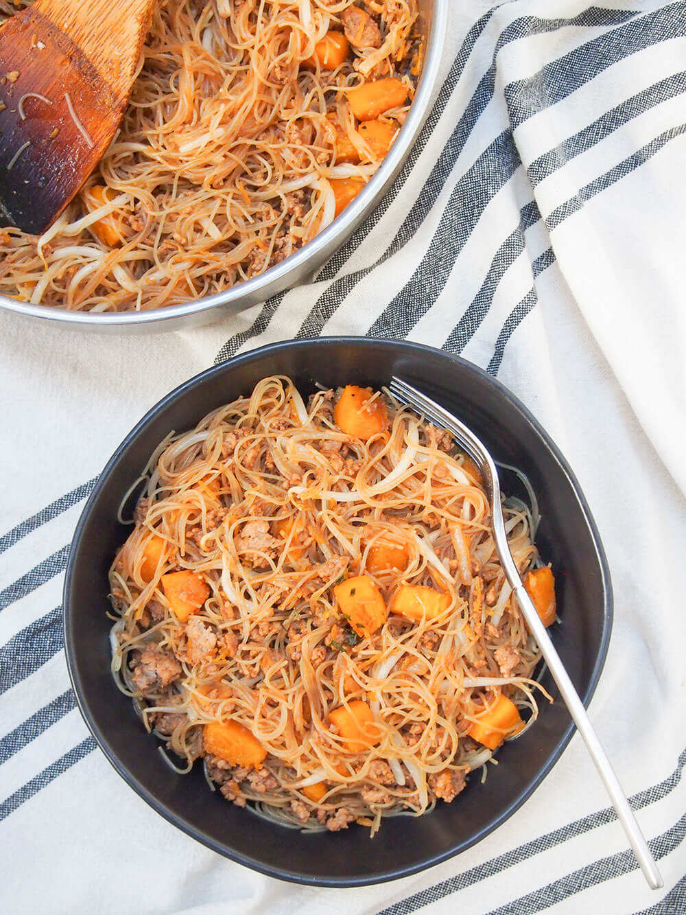 Taiwanese pumpkin rice noodles overhead shot of bowl and pan
