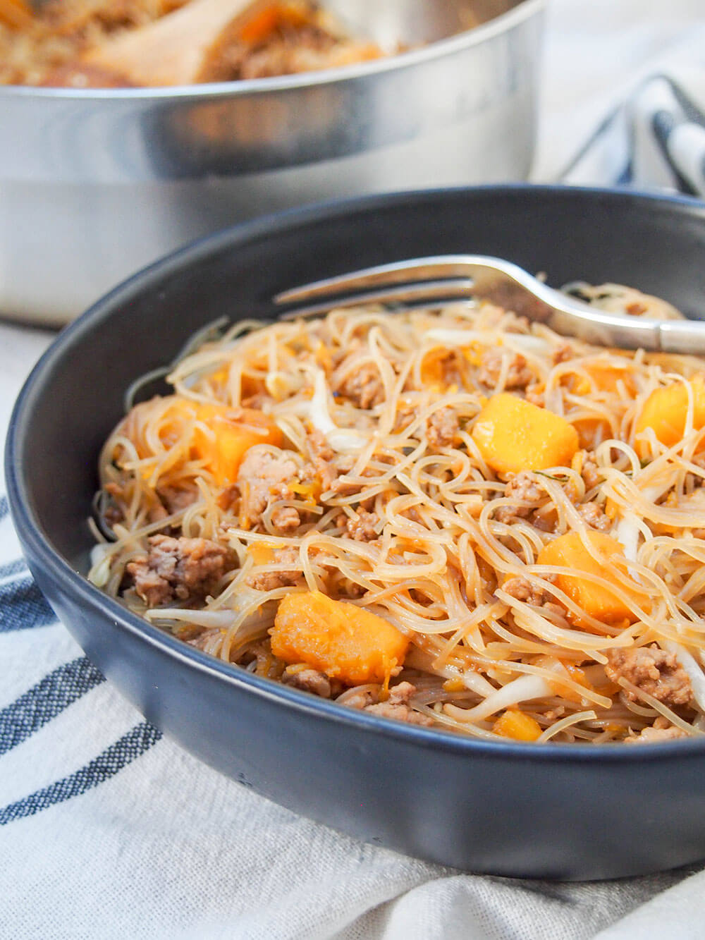 Taiwanese pumpkin rice noodles close up in bowl