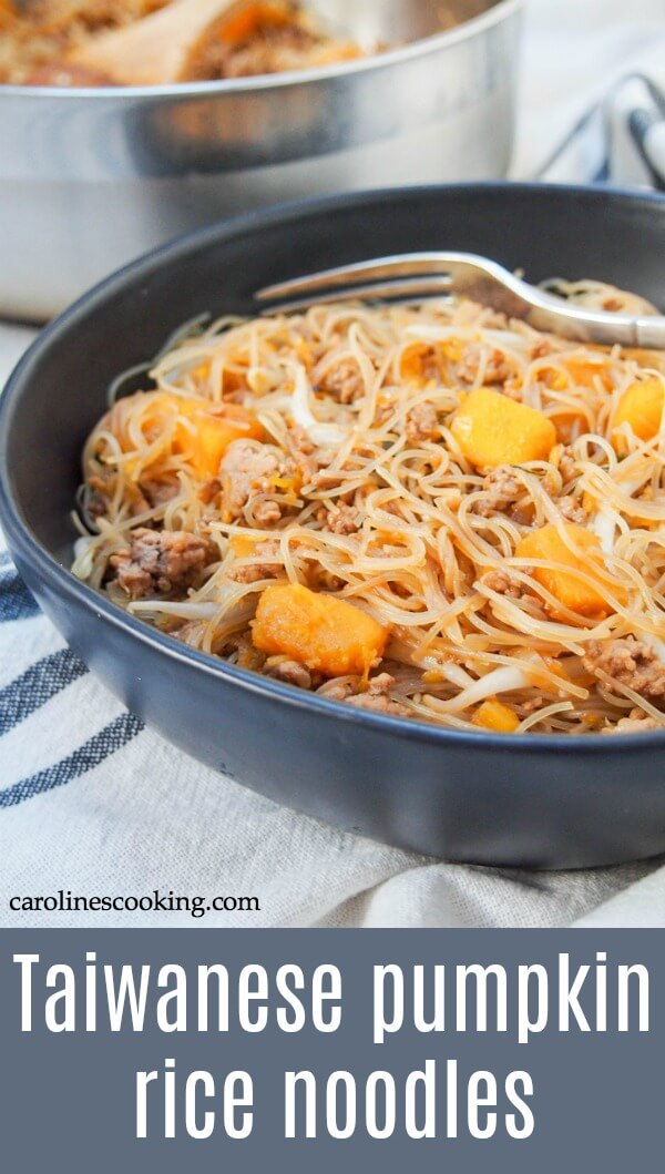 These Taiwanese pumpkin rice noodles are a fast and flavorful one pan meal. With a tasty combination of ingredients, it's a meal perfect for any night of the week. #onepotmeal #taiwanesefood #ricenoodles #porknoodles