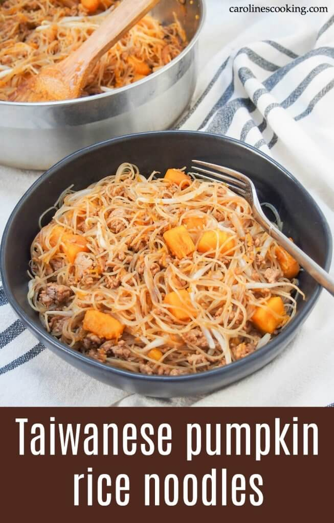 These Taiwanese pumpkin rice noodles are a fast and flavorful one pot meal. With a tasty combination of ingredients, including pork, pumpkin and Asian seasonings, it's a meal perfect for any night of the week. #onepotmeal #taiwanesefood #ricenoodles #porknoodles