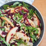 overhead view of bowl of beet apple salad