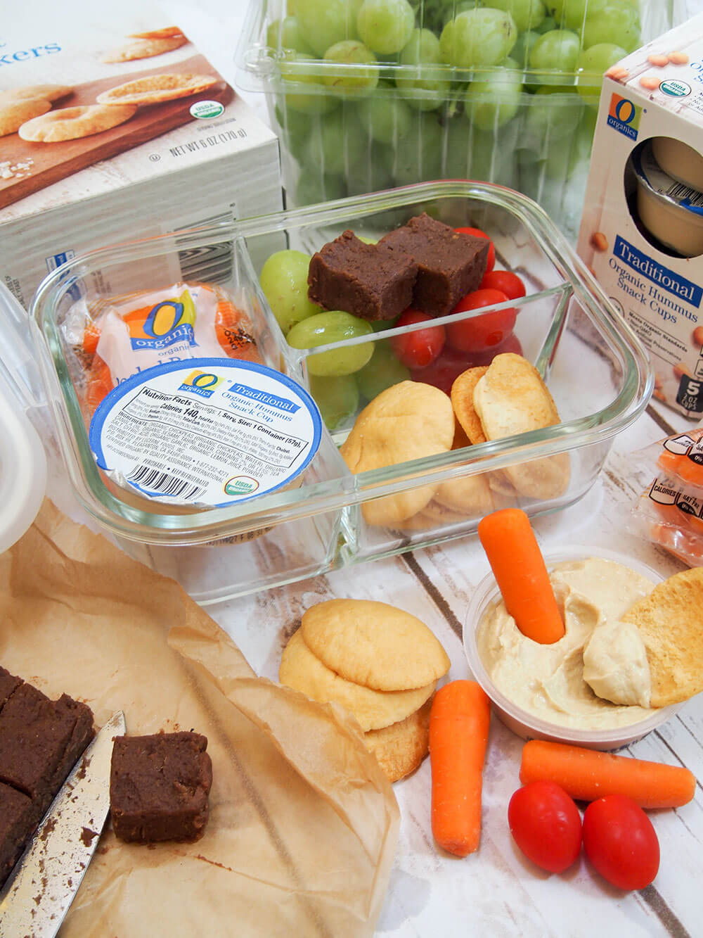 easy bento box lunch with chocolate chickpea fudge side