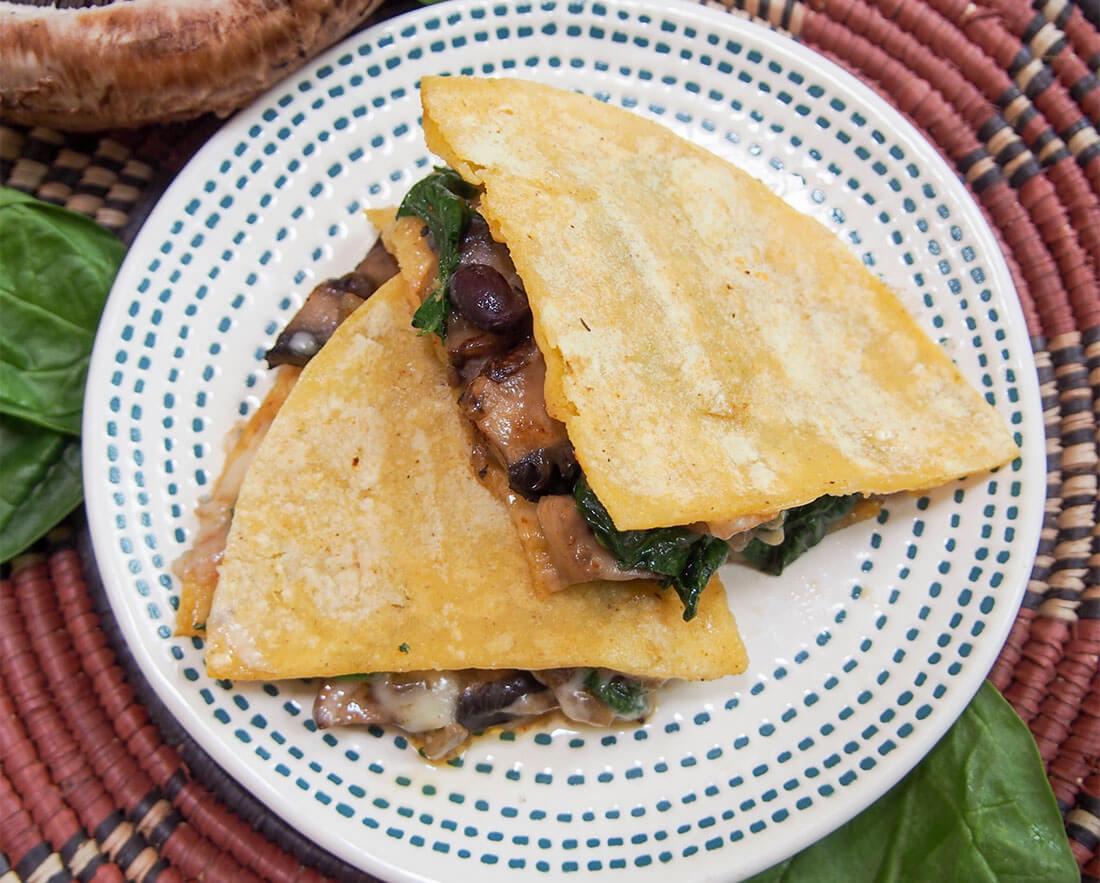 mushroom quesedillas on plate