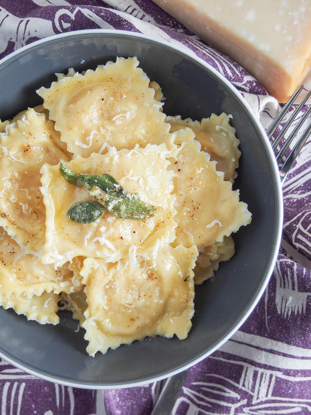 pumpkin ravioli tortelli di zucca from overhead