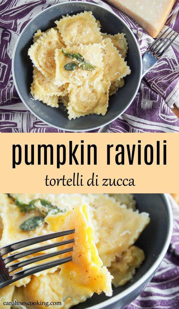Pumpkin ravioli may take a little time to make, but they are so worth the effort! Comforting little pillows of deliciousness, they're addictively good. This recipe makes everything from scratch - a traditional egg pasta dough, roast pumpkin and parmesan filling and takes you step by step on how to put it all together. Also learn about the different kinds of pumpkin ravioli, tortelli di zucca, as found in Italy. #pumpkin #ravioli #homemadepasta #pumpkinravioli #vegetarian