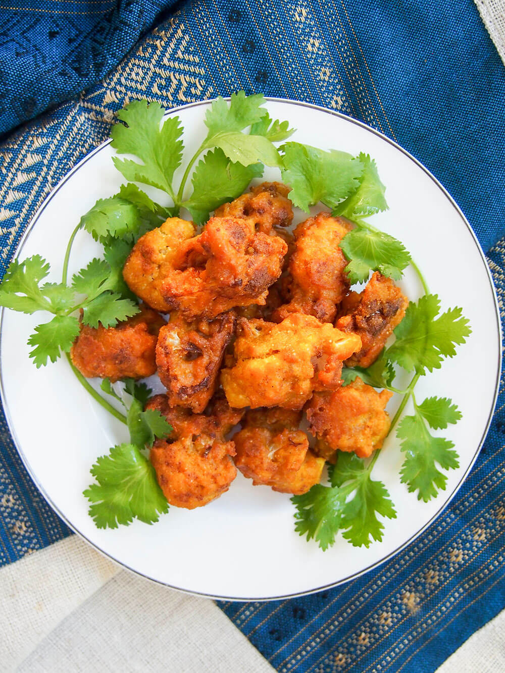Cauliflower pakora on plate