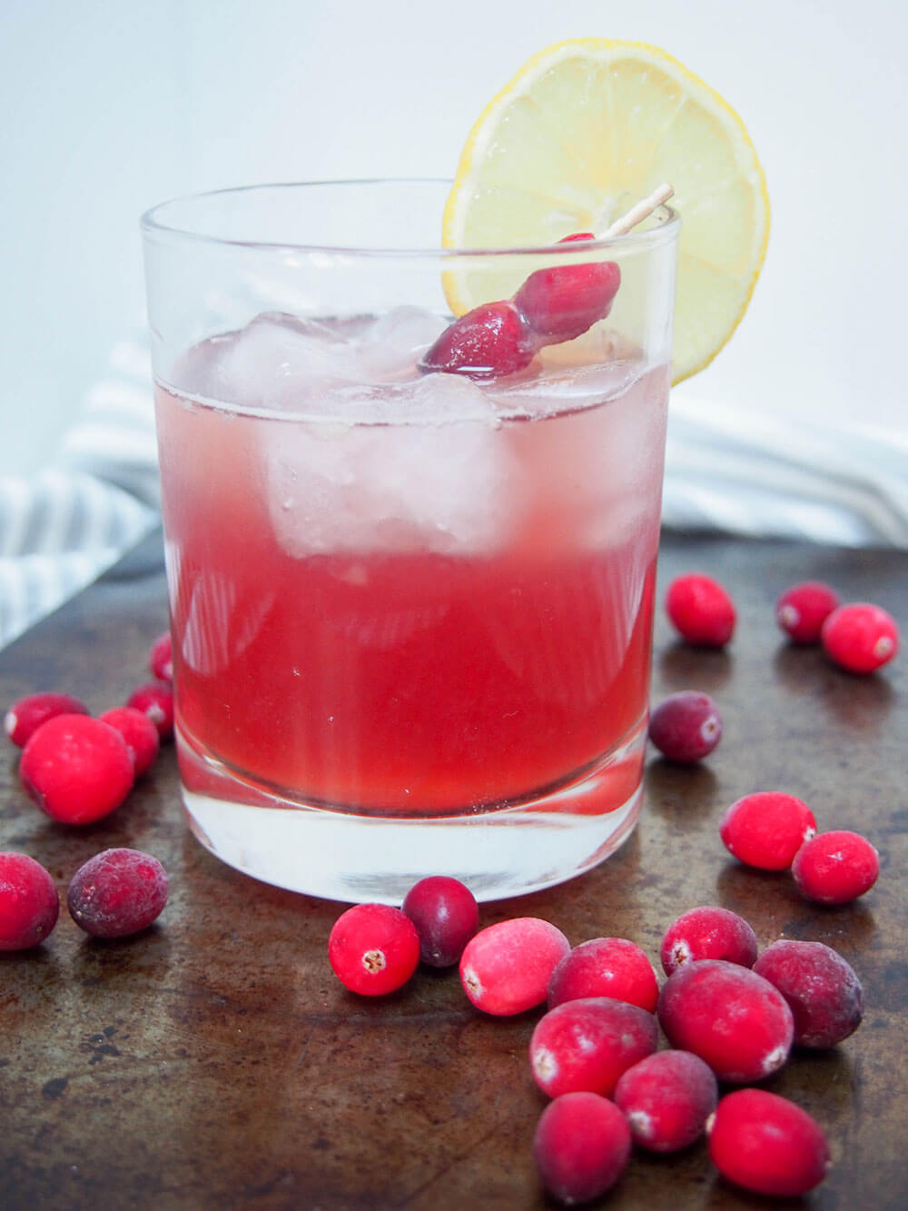 cranberry whiskey sour served over ice
