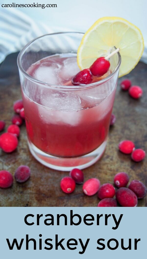 This cranberry whiskey sour is an easy and delicious twist on a classic cocktail. It's slightly festive and quick to prepare, making it perfect whether you're serving one or a crowd. #whiskeysour #cocktail #holidaycocktail