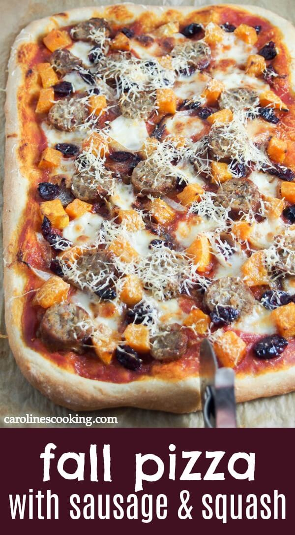 I called this a fall pizza because of the squash, cranberries and comfort factor, but really it's so tasty I could eat it any time. A delicious combination of flavors, it's definitely one to add to your pizza night menu. #fallpizza #sausageandsquashpizza