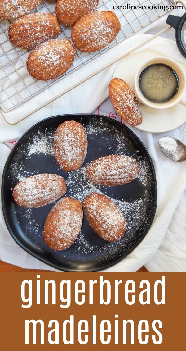 These madeleines are a delicious festive twist on the traditional French cookie. Gently spiced and wonderfully light with a crisp outside, they're little bites of heaven. #madeleine #cookie #christmascookies