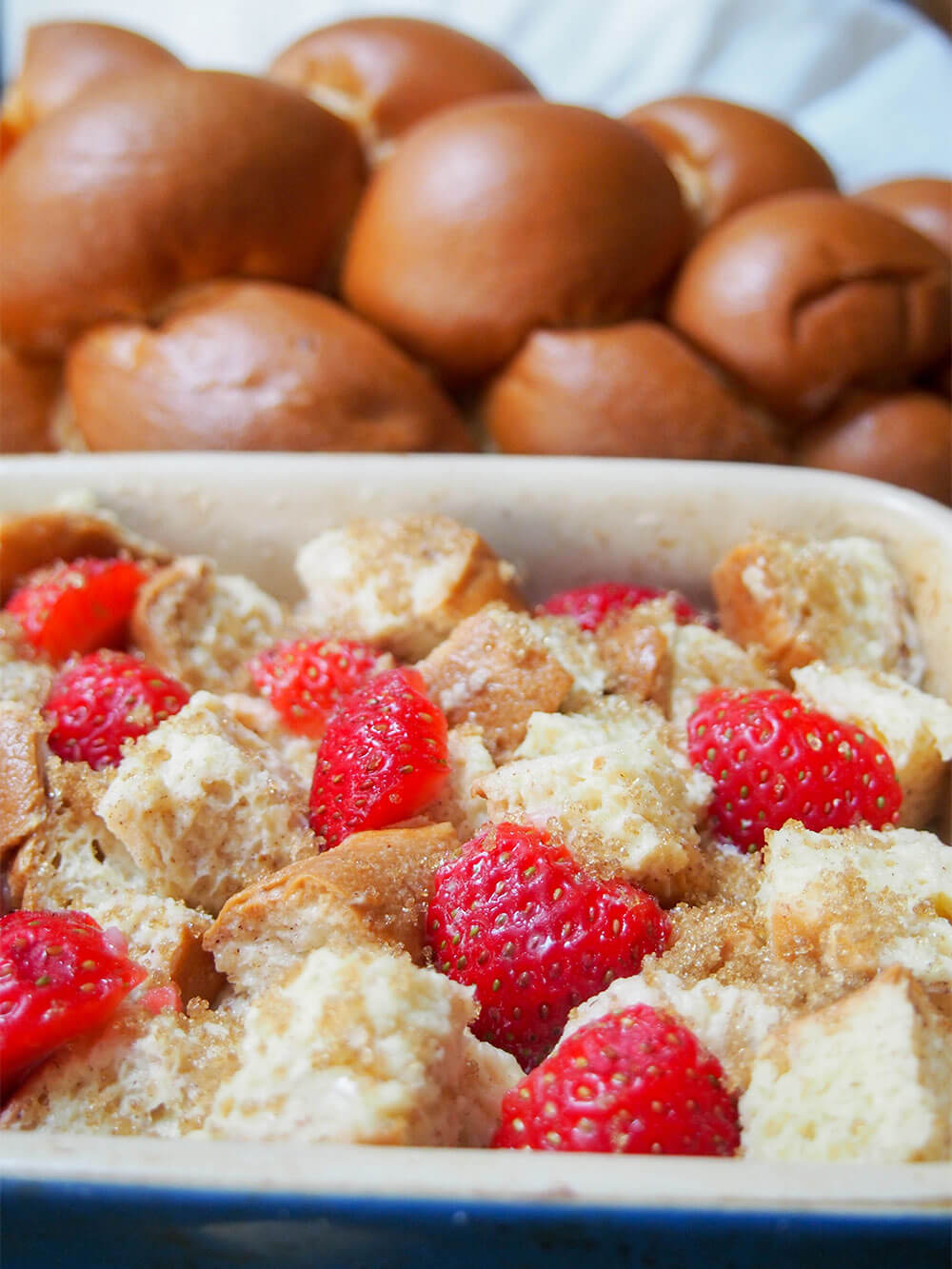 strawberry French toast bake ready to bake