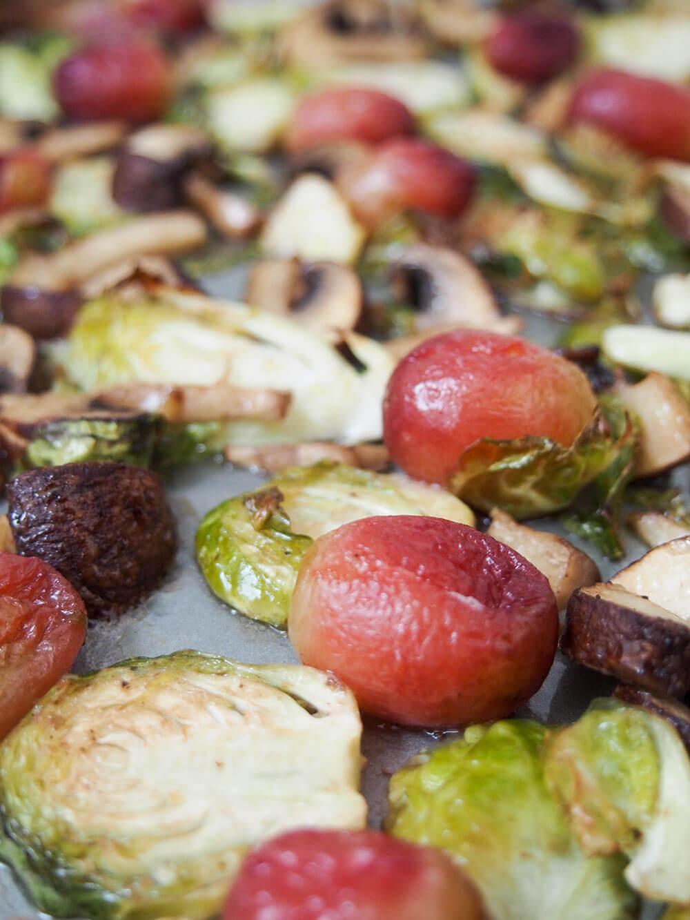 cooked vegetables for vegan lentil salad w roasted Brussels sprouts