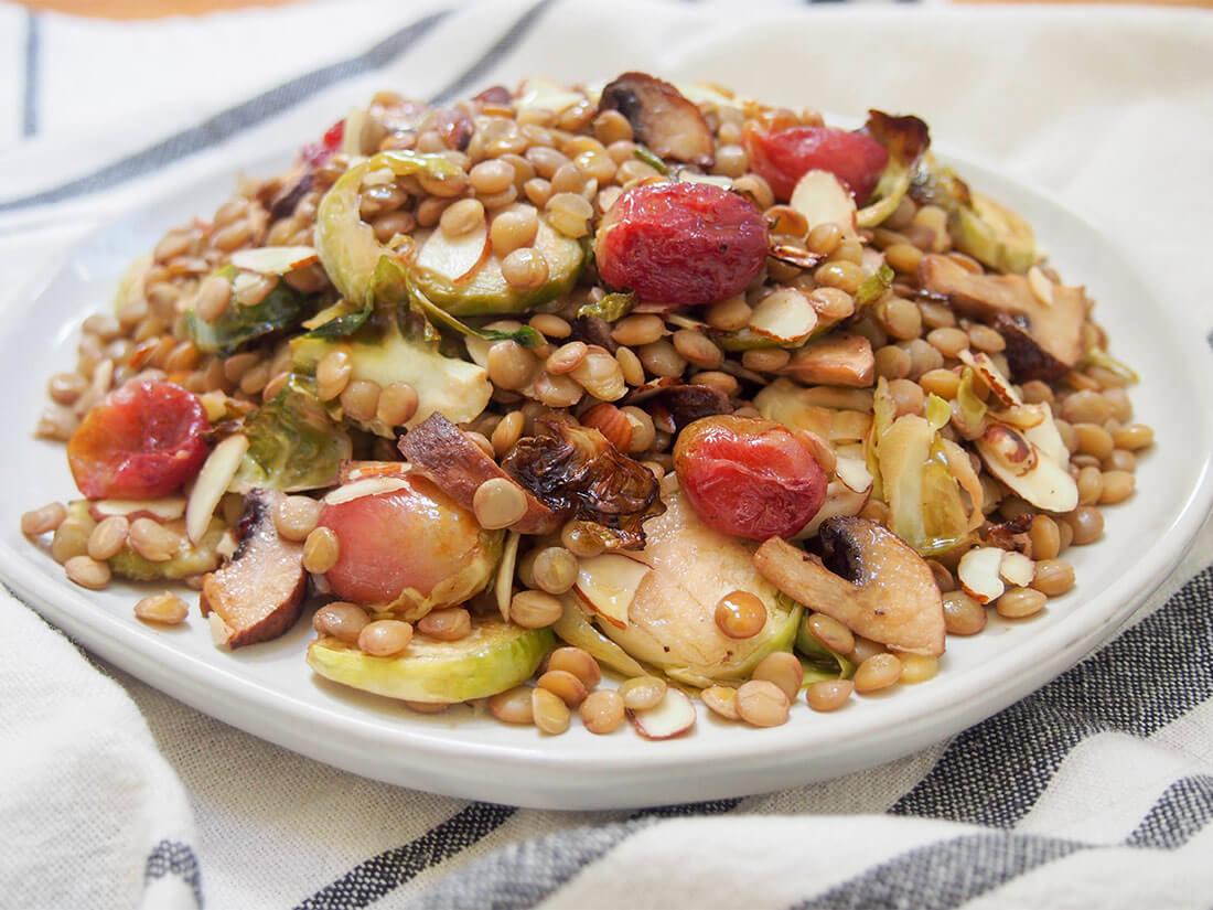 vegan lentil salad w roasted Brussels sprouts