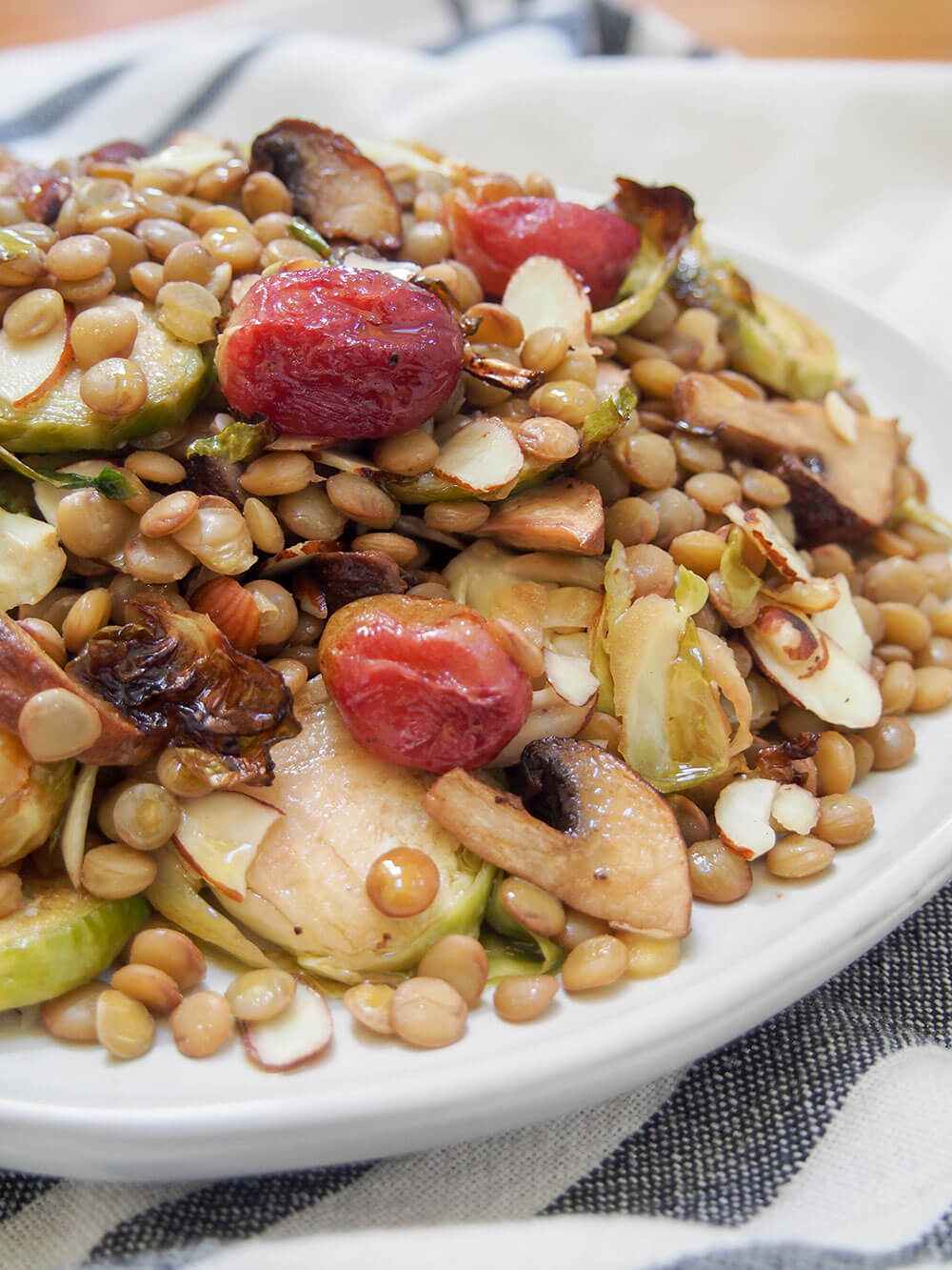 vegan lentil salad with roasted Brussels sprouts