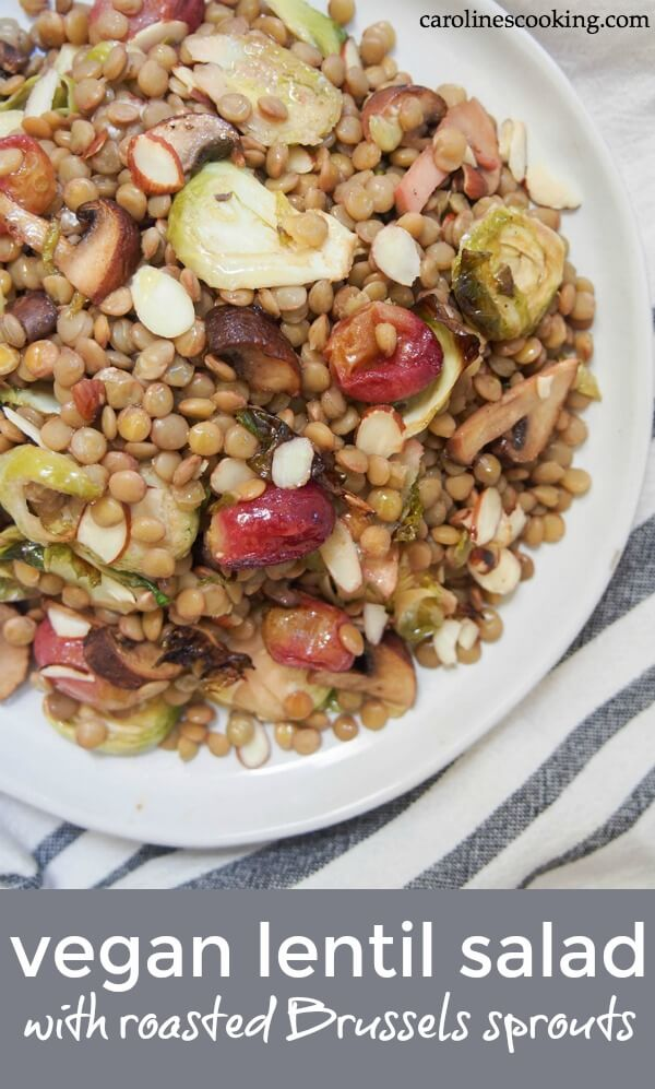 This vegan lentil salad combines earthy lentils with flavorful roasted Brussels sprouts, mushrooms and grapes. It's incredibly easy to make and so versatile in how you enjoy it. Healthy delicious. #vegansalad #lentilsalad #Brusselssprouts