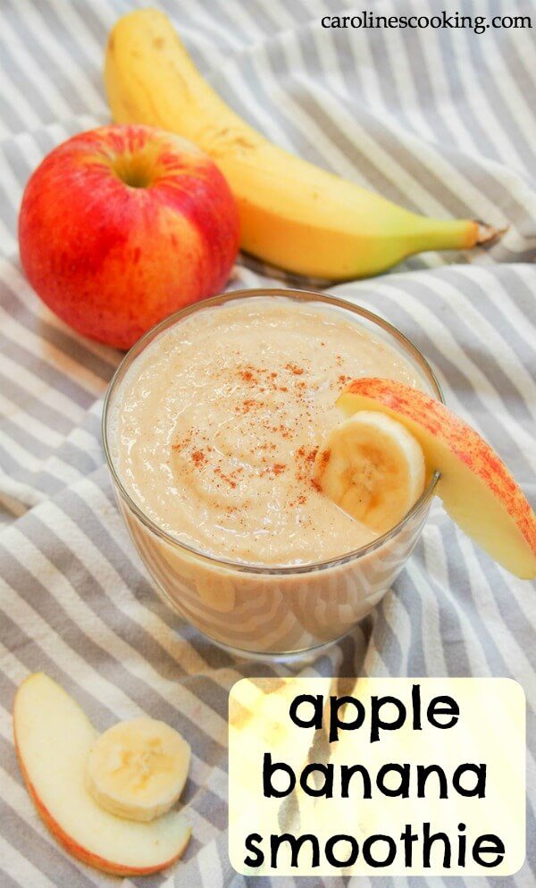 Trying to be healthier doesn't have to mean lots of work or tasteless options. This apple banana smoothie is thick, fruity, and really easy to make using common ingredients. It's almost like drinking apple pie! #smoothie #applesmoothie