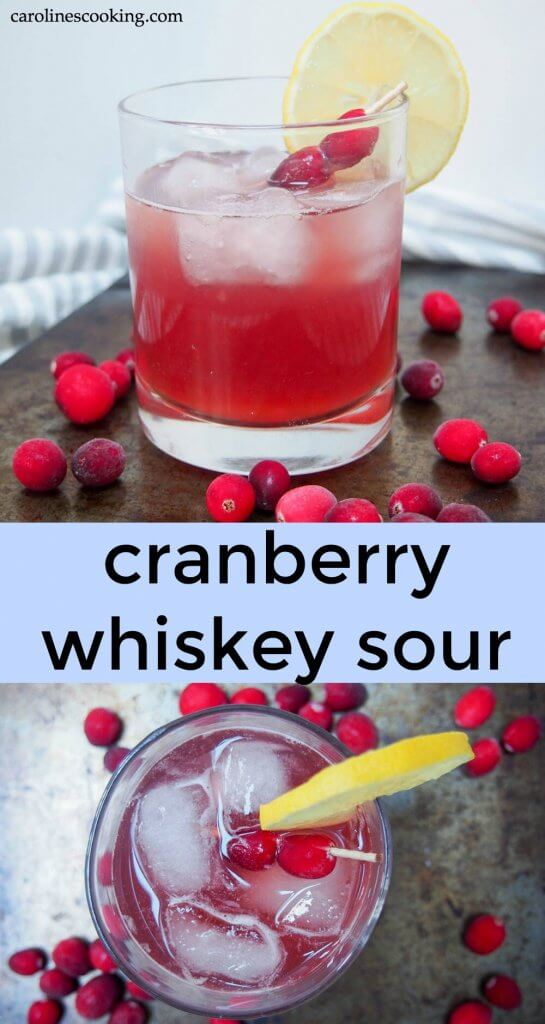 This cranberry whiskey sour is an easy and delicious twist on a classic cocktail. Colorful, tart and so drinkable too. It's slightly festive but to be honest, would be great any time. Quick and easy to prepare, perfect whether you're serving one or a crowd. #festivecocktail #whiskeysour #cranberrycocktail