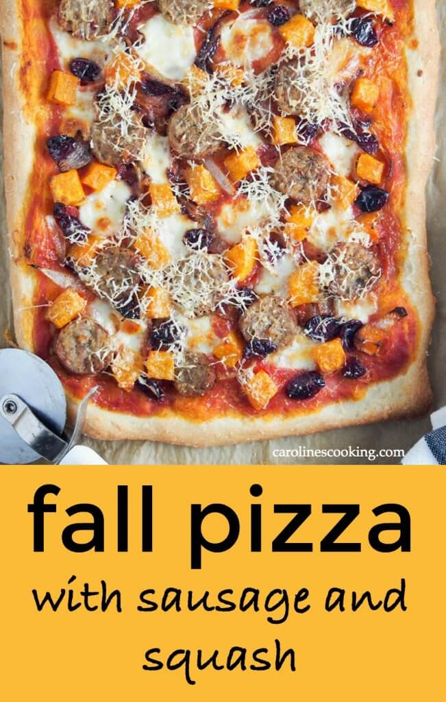 Fall pizza - This pizza is packed with fall flavors but really it would be great any time! Topped with sausage, squash, cranberries and cheese of course, there's plenty comfort factor. A delicious combination of flavors, it's definitely one to add to your pizza night menu. #fallpizza #sausageandsquashpizza